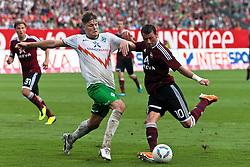 17.09.2011, easy Credit Stadion, Nuernberg, GER, 1.FBL, 1. FC Nürnberg / Nuernberg vs SV Werder Bremen, im Bild:.Sebastian Prödl / Proedl (Bremen #15) gg Albert Bunjaku (Nuernberg #10).// during the Match GER, 1.FBL, 1. FC Nürnberg / Nuernberg vs SV Werder Bremen on 2011/09/17, easy Credit Stadion, Nuernberg, Germany..EXPA Pictures © 2011, PhotoCredit: EXPA/ nph/  Will       ****** out of GER / CRO  / BEL ******
