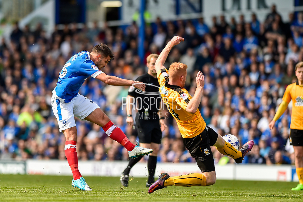 Portsmouth Midfielder, Gareth Evans (26) with a shot at goal during the EFL Sky Bet League 2 match between Portsmouth and Cambridge United at Fratton Park, Portsmouth, England on 22 April 2017. Photo by Adam Rivers.