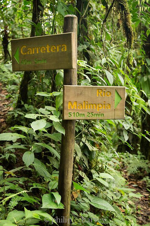 Trail signpost, Cloud Forest, Mashpi Reserve, Distrito Metropolitano de Quito, Ecuador, South America