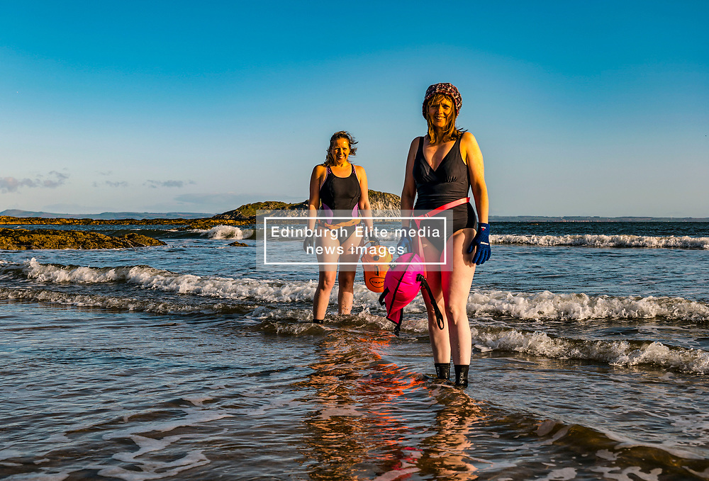 North Berwick, East Lothian, Scotland, United Kingdom, Wild swimming challenge: Wild swimming fund raising challenge: open water swimmer Rebecca Rennie is undertaking a 24 day challenge, swimming each day until April 24th, to raise money for Edinburgh Women's Aid via the virtual Kilt Walk with Sir Tom Hunter contributing an extra 50% to all funds raised. She is joined by various friends each day. North Berwick was recently deemed the best place to live in Scotland; the bays for swimming are one of its attractions.<br /> Sally Anderson | EdinburghElitemedia.co.uk