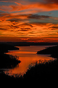 Sunset over Float Creek area of Norfork Lake in Baxter County, Ark.
