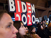 18 JANUARY 2020 - INDIANOLA, IOWA: Students at Simpson College listen to Joe Biden during a campaign event Saturday. About 250 people came to Simpson College to listen to Vice President talk about his reasons for running for President. Iowa hosts the first event of the presidential election cycle. The Iowa Caucuses are Feb. 3, 2020.        PHOTO BY JACK KURTZ