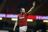 Alun Wyn Jones of Wales waves to the fans at the end of the game. Under Armour 2016 series international rugby, Wales v South Africa at the Principality Stadium in Cardiff , South Wales on Saturday 26th November 2016. pic by Andrew Orchard, Andrew Orchard sports photography