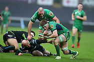 Sean O'Brien of Connacht © on his way to scoring his teams only try late in the match.  Guinness Pro12 rugby match, Ospreys v Connacht rugby at the Liberty Stadium in Swansea, South Wales on Saturday 7th January 2017.<br /> pic by Andrew Orchard, Andrew Orchard sports photography.