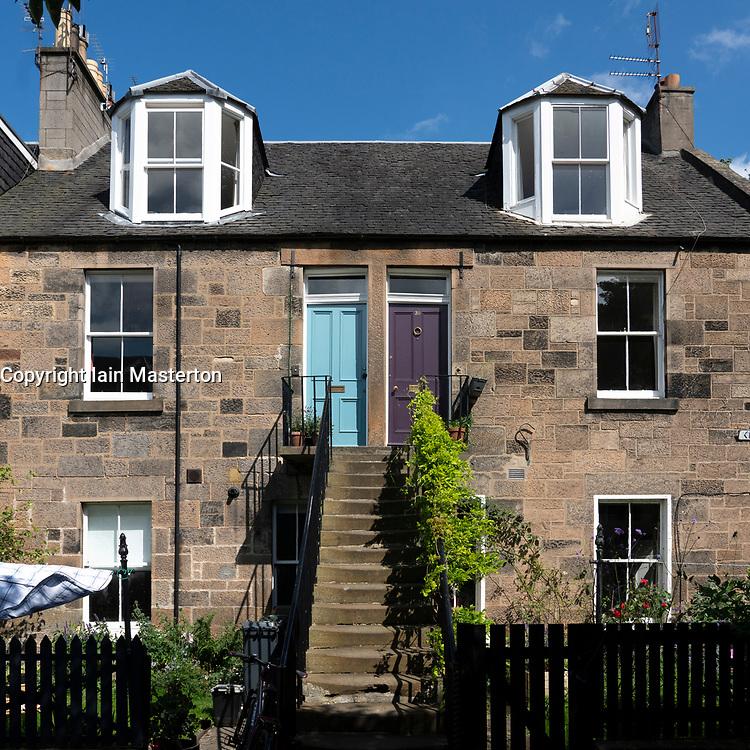 Exterior view of row of Colony style terraced houses in Stockbridge, Edinburgh, Scotland, UK