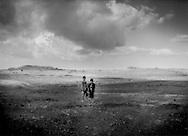 Two Yemeni shepherd boys on the 3,000m high plateau above Kawkaban, Yemen.