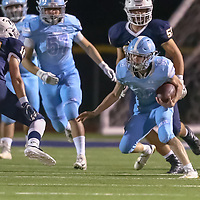 Hillsdale #18 Nathan Iskander vs The King's Academy in a Peninsula-Ocean Football Game at The King's Academy, Sunnyvale CA on 9/28/18. (Photograph by Bill Gerth)(TKA 47 Hillsdale 0)