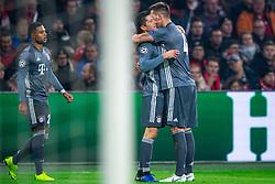 12-12-2018 NED: Champions League AFC Ajax - FC Bayern Munchen, Amsterdam<br /> Match day 6 Group E - Ajax - Bayern Munchen 3-3 / Robert Lewandowski #9 of Bayern Munich scores the 1-0 and celebrate with Niklas Sule #4 of Bayern Munich