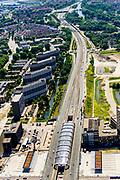 Nederland, Noord-Holland, Amsterdam-Noord, 29-06-2018; Buikslotermeer en Centrum Amsterdam Noord (CAN) rond eindpunt van Noord/Zuidlijn, Station Noord. Naast de Nieuwe Leeuwarderweg de flats van de Loenermark.<br /> North Station w environment, terminus new subway /underground. <br /> luchtfoto (toeslag op standard tarieven);<br /> aerial photo (additional fee required);<br /> copyright foto/photo Siebe Swart