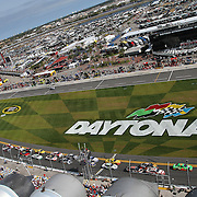A general overview of Daytona International Speedway from the starting line tower on Thursday, February 21, 2013 in Daytona Beach, Florida.  (AP Photo/Alex Menendez)