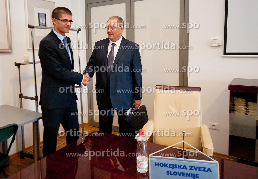 Matjaz Rakovec (predsednik HZS) ter Ernest Aljancic Nestl na skupscini Hokejske zveze Slovenije, on September 7, 2011, in Ljubljana, Slovenia. (Photo by Matic Klansek Velej / Sportida)