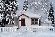 Houses in downtown Fairbanks take on a classic winter look after heavy snowfalls