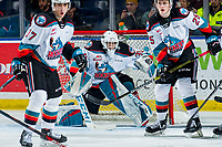 KELOWNA, BC - MARCH 6: Roman Basran #30 of the Kelowna Rockets defends the net against the Seattle Thunderbirds at Prospera Place on March 6, 2020 in Kelowna, Canada. (Photo by Marissa Baecker/Shoot the Breeze)