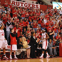 Mar 1, 2008; Piscataway, NJ, USA; Rutgers forward Essence Carson (5) leaves the floor at the Louis Brown Athletic Center for the last time to a standing ovation from the home crowd as Rutgers defeats the Syracuse Orange 64-49.