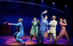 Five Guys Named Moe by Clarke Peters <br /> at the Marble Arch Theatre (Temporary), London, Great Britain <br /> 12th September 2017 <br /> <br /> <br /> Dex Lee as Know Moe <br /> <br /> Horace Oliver as Big Moe <br /> <br /> Idriss Cargo as Little Moe<br /> <br /> Ian Carlyle as Four eyed Moe <br /> <br /> Emile Ruddock as Eat Moe  <br /> <br /> <br /> <br /> Photograph by Elliott Franks <br /> Image licensed to Elliott Franks Photography Services