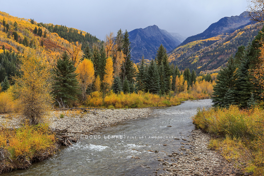 Autumn Along the Crystal River and highway 133 in Colorado, USA