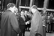 17/3/1966<br /> 3/17/1966<br /> 17 March 1966<br /> <br /> Mr. Sean O'Bradaigh(3rd from left) Vice President of NAIDA welcoming Mr. Douglas Watson(Right) Chief Marshal Lord Mayor's Show, Belfast and Mr. H.A. Hadden(left) Vice President Belfast Junior Chamber of Commerce and Chairman Lord Mayor's Show, to the review platform. Also in the picture are Dr. P.J. Hillery(2nd from Right) Minister for Industry and Commerce; Mr. Sydney Gibson (2nd from Left) President of the Federation of Irish Industries