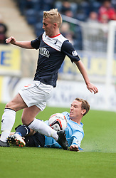 Falkirk's Craig Sibbald and Dundee's Gary Irvine.<br /> half time : Falkirk 1 v 0 Dundee, 21/9/2013.<br /> ©Michael Schofield.