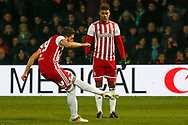 Brentford defender Yoann Barbet (29) taking a free kick during The FA Cup fourth round match between Barnet and Brentford at The Hive Stadium, London, England on 28 January 2019.