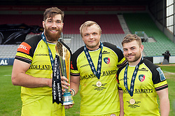 Graham Kitchener, Luke Hamilton and Jack Roberts of Leicester Tigers with the Anglo-Welsh Cup trophy - Mandatory byline: Patrick Khachfe/JMP - 07966 386802 - 19/03/2017 - RUGBY UNION - The Twickenham Stoop - London, England - Exeter Chiefs v Leicester Tigers - Anglo-Welsh Cup Final.