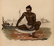 Indian Shell-cutter: He is holding the shell with his feet and cutting through it with blade mounted on handle.  Mother-of-Pearl or Nacre from shells was used for inlays, knife handles, buttons, and various other small decorative items.   Hand-coloured engraving published Rudolph Ackermann, London, 1822.