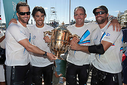 Ben Ainslie (L) and his team after winning the Argo Group Gold Cup 2010. Hamilton, Bermuda. 10 October 2010. Photo: Subzero Images/WMRT
