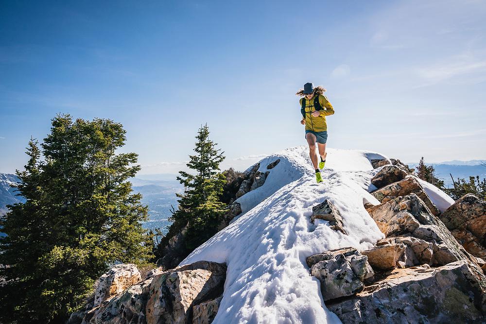 Joe Grant on the summit of Mount Olympus, Wasatch Range, Utah.