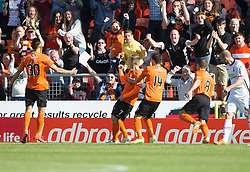 Dundee United's Billy McKay (7) scoring their goal. <br /> Half time : Dundee United 1 v 0 Inverness Caledonian Thistle, SPFL Ladbrokes Premiership game played 19/9/2015 at Tannadice.
