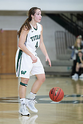 12 December 2015:  Rebekah Ehresman during an NCAA women's basketball game between the Wisconsin Stevens Point Pointers and the Illinois Wesleyan Titans in Shirk Center, Bloomington IL