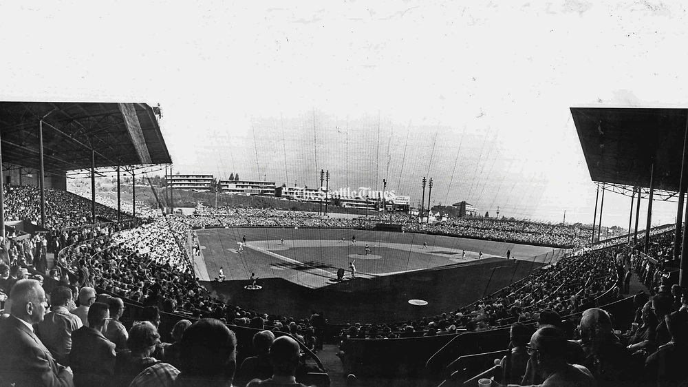 Bat-Day crowd of 14,363 watched Pilots complete three-game series sweep over Senators in Sicks Stadium. (Greg Gilbert / The Seattle Times, 1969)