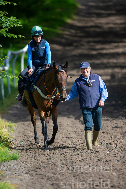 Father and daughter trainer/ jockey team Nick and Lucy Alexander at Kinneston stables, Leslie, Fife, with the horse called Final Reminder. Start regarding the launch of the Scottish Sun Family Raceday at Perth races