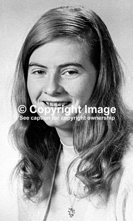 Rachel McLernon, 21 years, Lisnahall, Cookstown, N Ireland, UK, who died in Provisional IRA boobytrap bomb explosion intended for security forces. Her 16 year old brother, Robert McLernon, also died in the blast. 197602080084RML2.<br /> <br /> Copyright Image from Victor Patterson, Belfast, UK<br /> <br /> t: +44 28 9066 1296 (from Rep of Ireland 048 9066 1296)<br /> m: +44 7802 353836<br /> e: victorpattersonbelfast@gmail.com<br /> <br /> www.images4media.com<br /> <br /> Please see my full Terms and Conditions of Use at https://www.images4media.com/p/terms-conditions - it is IMPORTANT that you familiarise yourself with them.<br /> <br /> Images used online incur an additional cost. This cost should be agreed in writing in advance. Online images must be visibly watermarked i.e. © Victor Patterson or that of the named photographer within the body of the image. The original metadata must not be deleted from images used online.<br /> <br /> This image is only available for the use of the download recipient i.e. television station, newspaper, magazine, book publisher, etc, and must not be passed on to a third party. It is also downloaded on condition that each and every usage is notified within 7 days to victorpattersonbelfast@gmail.com.<br /> <br /> The right of Victor Patterson (or the named photographer) to be identified as the author is asserted in accordance with The Copyright Designs And Patents Act (1988). All moral rights are asserted.