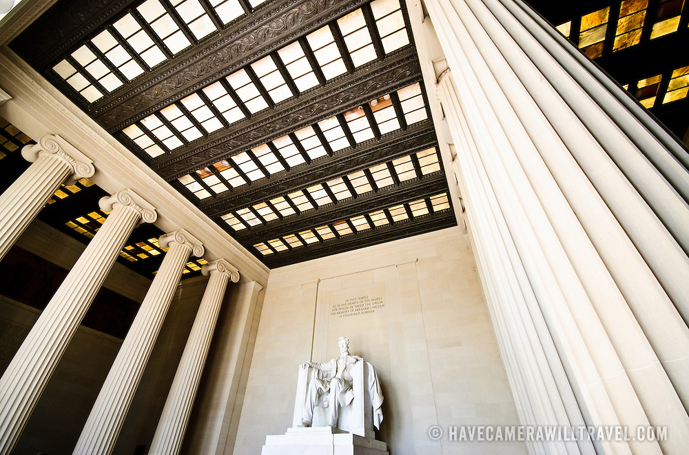Wide-angle shot of the statue of President Abraham Lincoln on the interior of the Lincoln Memorial