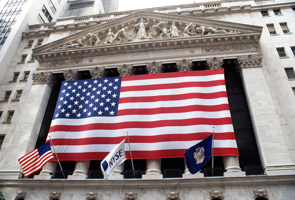 New York Stock Exchange with large American flag after September 11th, 2001