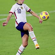 ORLANDO, FL - JANUARY 22:  Carli Lloyd #10 of United States controls the ball against Colombia at Exploria Stadium on January 22, 2021 in Orlando, Florida. (Photo by Alex Menendez/Getty Images) *** Local Caption *** Carli Lloyd