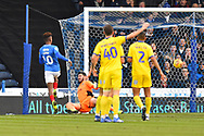 Goal - Jamal Lowe (10) of Portsmouth scores a goal to give a 1-0 lead to the home team during the EFL Sky Bet League 1 match between Portsmouth and AFC Wimbledon at Fratton Park, Portsmouth, England on 1 January 2019.
