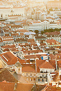 Sunset over the Alfama district, seen from the Castleo de Sao Jorge, in Lisbon, Portugal