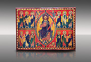 """Altar of Esquius - Painted wooden panel<br /> <br /> Second quarter of the twelfth century<br /> <br /> Probably comes from the ancient Chapel of Santa Maria of Besora Castle <br /> <br /> Aquired by the National Art Museum of Catalonia, Barcelona 1958. Ref: 65502 MNAC.<br /> <br /> <br /> The use of valuable pigments (lapis lazuli, orpiment, cinabri) on the Altar panel, suggests that this front was painted in an important monastery scriptorium like Ripoll. The poetic inscription that runs around the mandorla surrounding Christ is very characteristic of the intellectual environment of Ripoll """"This is the God of Alfa and Omega. Come, O merciful with Your mercy, and remove the chains of missery. Amen."""" This is flanked by Tetramorph showing the four evangelical symbols - St Matthew the man, St Mark the lion, St Luke the ox, and John the eagle. The rest of the panel depicts the 12 apostles. .<br /> <br /> If you prefer you can also buy from our ALAMY PHOTO LIBRARY  Collection visit : https://www.alamy.com/portfolio/paul-williams-funkystock/romanesque-art-antiquities.html<br /> Type -     MNAC     - into the LOWER SEARCH WITHIN GALLERY box. Refine search by adding background colour, place, subject etc<br /> <br /> Visit our ROMANESQUE ART PHOTO COLLECTION for more   photos  to download or buy as prints https://funkystock.photoshelter.com/gallery-collection/Medieval-Romanesque-Art-Antiquities-Historic-Sites-Pictures-Images-of/C0000uYGQT94tY_Y"""