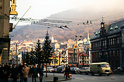 City centre with Christmas lights, Bergen, Norway, 1970
