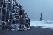 Bastalt coloumns and Reynisdrangar in Reynisfjara, south coast Iceland
