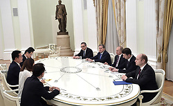 May 24, 2017 - Moscow, Russia - May 24, 2017. - Russia, Moscow. - Russian President Vladimir Putin (3rd right) meets with Song Young-gil, the special envoy of South Korean President Moon Jae-in  (Credit Image: © Russian Look via ZUMA Wire)