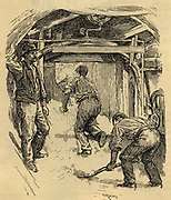 Labourers working by compressed air behind a t unnelling shield deep under London: 1890.