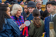 the Duchess hands out rosettes - The Duchess of Cornwall, President, Ebony Horse Club, visits the charity's Brixton riding centre. The centre is celebrating its 21st birthday and its 6th year on this site. London 16 Feb 2017 .