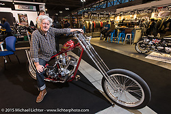 """Alfredo """"Biker Billy"""" Cella of Italian Choppers on one of his Harley-Davidson Shovelhead customs at EICMA, the largest international motorcycle exhibition in the world. Milan, Italy. November 17, 2015.  Photography ©2015 Michael Lichter."""