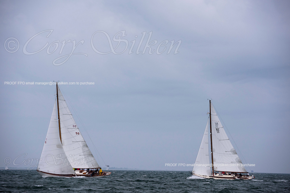 Sonny and Santana racing in the Sail Nantucket Regatta, day one.