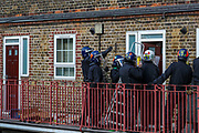 A man at his late 20's who was called by the police as M***in, is alleged to have assaulted members of the public and an emergency worker on Tuesday, Aug 18, 2020, in south London.<br /> <br /> Members of the MET police crew stormed into his barricaded doorstep after Martin wouldn't respond to their multiple calls to surrender as he was declared that he was going to be arrested.<br /> After breaking the door police stumbled into a barricade made of a ladder, washing machine, several chairs and other wood and plastic items. After forcing themselves into his apartment, police couldn't find him. The search is on-going. (VXP Photo/ Vudi Xhymshiti) in south London.<br /> <br /> Members of the MET police crew stormed into his barricaded doorstep after Martin wouldn't respond to their multiple calls to surrender as he was declared that he was going to be arrested.<br /> After breaking the door police stumbled into a barricade made of a ladder, washing machine, several chairs and other wood and plastic items. After forcing themselves into his apartment, police couldn't find him. The search is on-going. (VXP Photo/ Vudi Xhymshiti)
