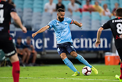 December 15, 2018 - Sydney, NSW, U.S. - SYDNEY, NSW - DECEMBER 15: Sydney FC forward Alex Brosque (14) takes a shot at goal at the Hyundai A-League Round 8 soccer match between Western Sydney Wanderers FC and Sydney FC at ANZ Stadium in NSW, Australia on December 15, 2018. (Photo by Speed Media/Icon Sportswire) (Credit Image: © Speed Media/Icon SMI via ZUMA Press)