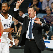 Efes Pilsen's coach Ufuk SARICA during their Turkish Basketball Legague Play-Off qualifying second match Efes Pilsen between Pinar Karsiyaka at the Sinan Erdem Arena in Istanbul Turkey on Friday 13 May 2011. Photo by TURKPIX