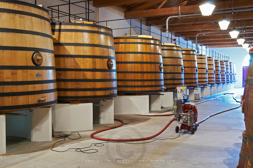 wooden vats pumping over ch lafite rothschild pauillac medoc bordeaux france