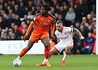 Blackpool's Jay Spearing chases down Luton Town's Pelly Ruddock<br /> <br /> Photographer David Shipman/CameraSport<br /> <br /> The EFL Sky Bet League One - Luton Town v Blackpool - Saturday 6th April 2019 - Kenilworth Road - Luton<br /> <br /> World Copyright © 2019 CameraSport. All rights reserved. 43 Linden Ave. Countesthorpe. Leicester. England. LE8 5PG - Tel: +44 (0) 116 277 4147 - admin@camerasport.com - www.camerasport.com